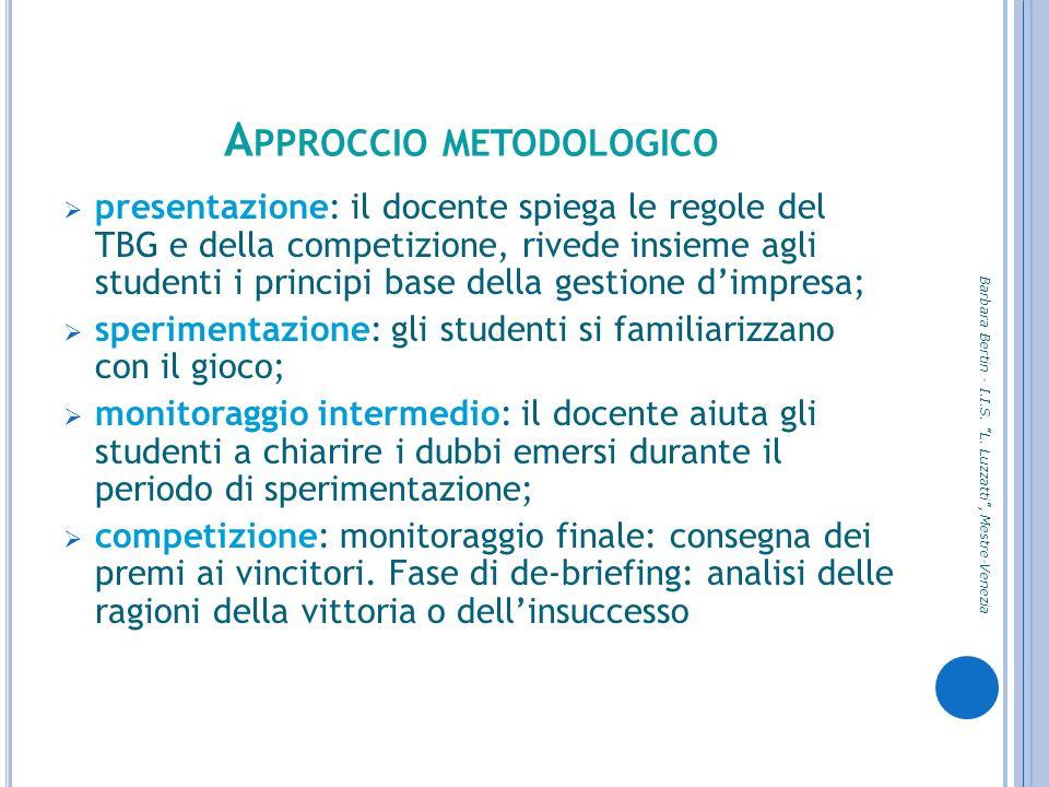 A PPROCCIO METODOLOGICO presentazione: il docente spiega le regole del TBG e della competizione, rivede insieme agli studenti i principi base della ge