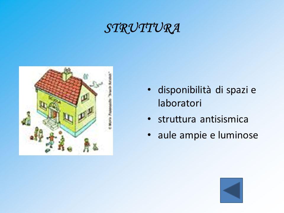 STRUTTURA disponibilità di spazi e laboratori struttura antisismica aule ampie e luminose