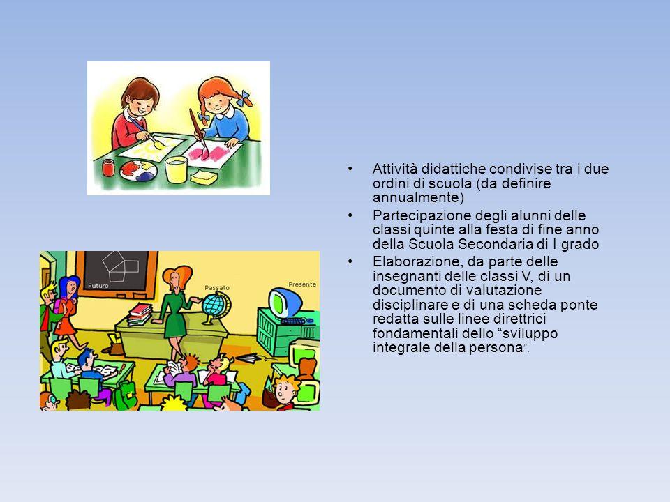 Attività didattiche condivise tra i due ordini di scuola (da definire annualmente) Partecipazione degli alunni delle classi quinte alla festa di fine
