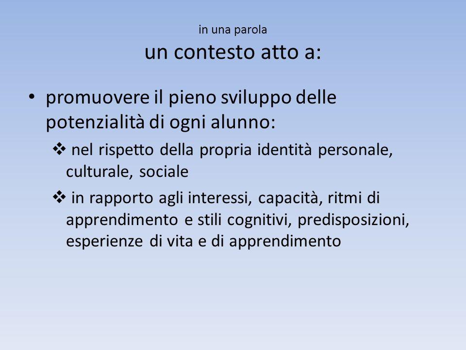 in una parola un contesto atto a: promuovere il pieno sviluppo delle potenzialità di ogni alunno: nel rispetto della propria identità personale, cultu