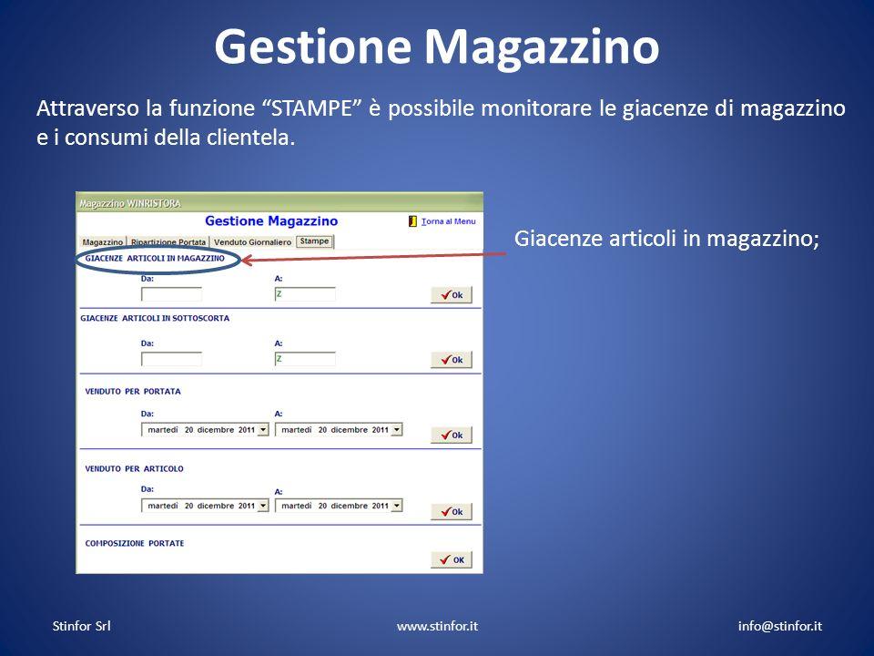 Stinfor Srlwww.stinfor.itinfo@stinfor.it Gestione Magazzino Giacenze articoli in magazzino; Attraverso la funzione STAMPE è possibile monitorare le gi