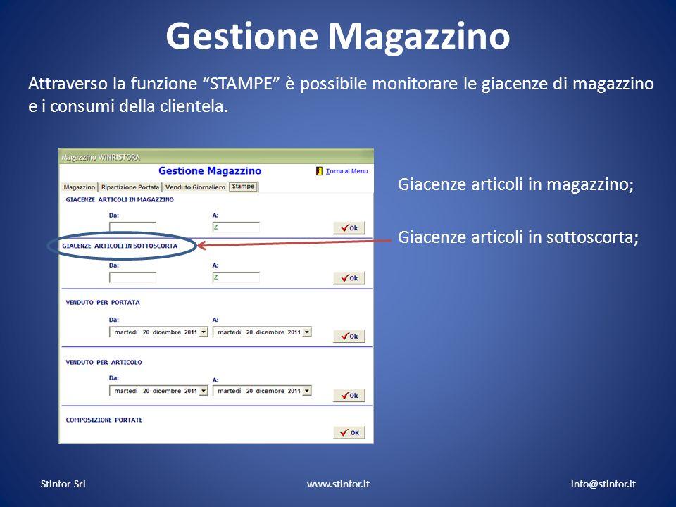 Stinfor Srlwww.stinfor.itinfo@stinfor.it Gestione Magazzino Giacenze articoli in magazzino; Giacenze articoli in sottoscorta;