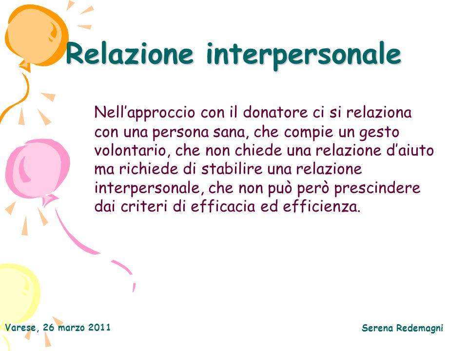 Varese, 26 marzo 2011 Serena Redemagni Relazione interpersonale Nellapproccio con il donatore ci si relaziona con una persona sana, che compie un gest