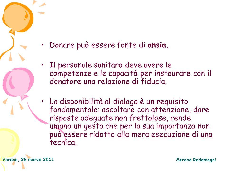 Varese, 26 marzo 2011 Serena Redemagni Donare può essere fonte di ansia. Il personale sanitaro deve avere le competenze e le capacità per instaurare c
