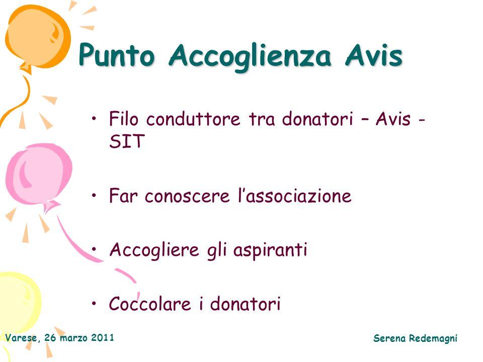 Varese, 26 marzo 2011 Serena Redemagni Punto Accoglienza Avis Filo conduttore tra donatori – Avis - SIT Far conoscere lassociazione Accogliere gli aspiranti Coccolare i donatori