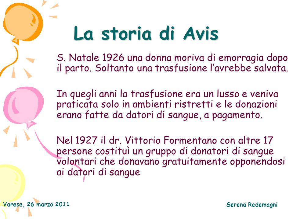 Varese, 26 marzo 2011 Serena Redemagni La storia di Avis S. Natale 1926 una donna moriva di emorragia dopo il parto. Soltanto una trasfusione lavrebbe