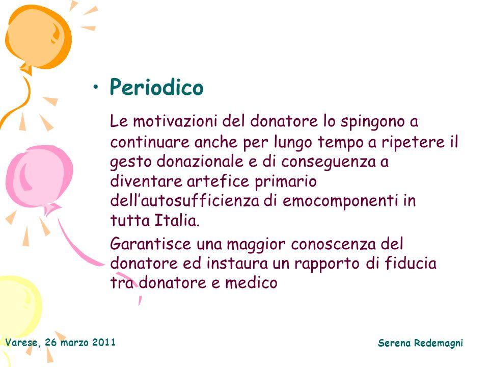 Varese, 26 marzo 2011 Serena Redemagni Periodico Le motivazioni del donatore lo spingono a continuare anche per lungo tempo a ripetere il gesto donazionale e di conseguenza a diventare artefice primario dellautosufficienza di emocomponenti in tutta Italia.