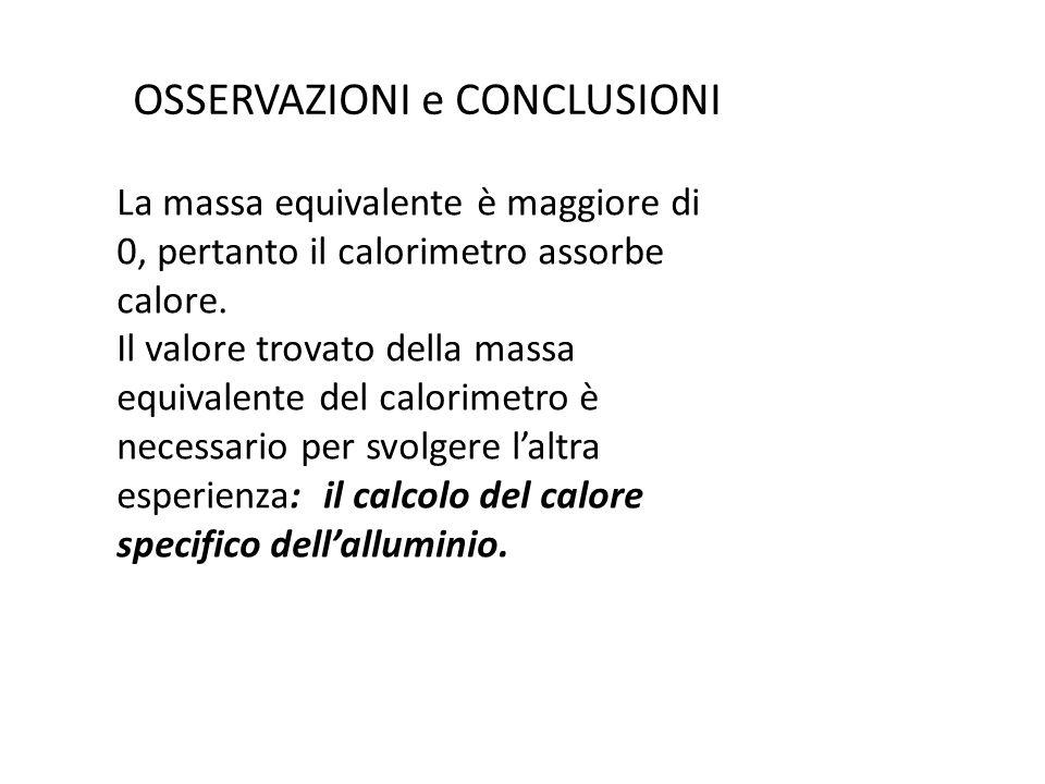 OSSERVAZIONI e CONCLUSIONI La massa equivalente è maggiore di 0, pertanto il calorimetro assorbe calore. Il valore trovato della massa equivalente del