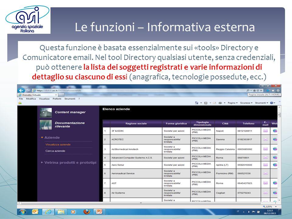 Le funzioni – Informativa esterna Questa funzione è basata essenzialmente sui «tools» Directory e Comunicatore email.