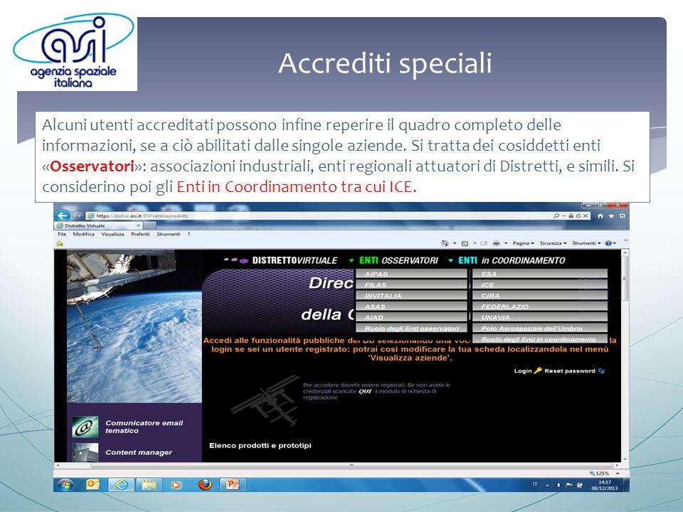 Accrediti speciali Alcuni utenti accreditati possono infine reperire il quadro completo delle informazioni, se a ciò abilitati dalle singole aziende.