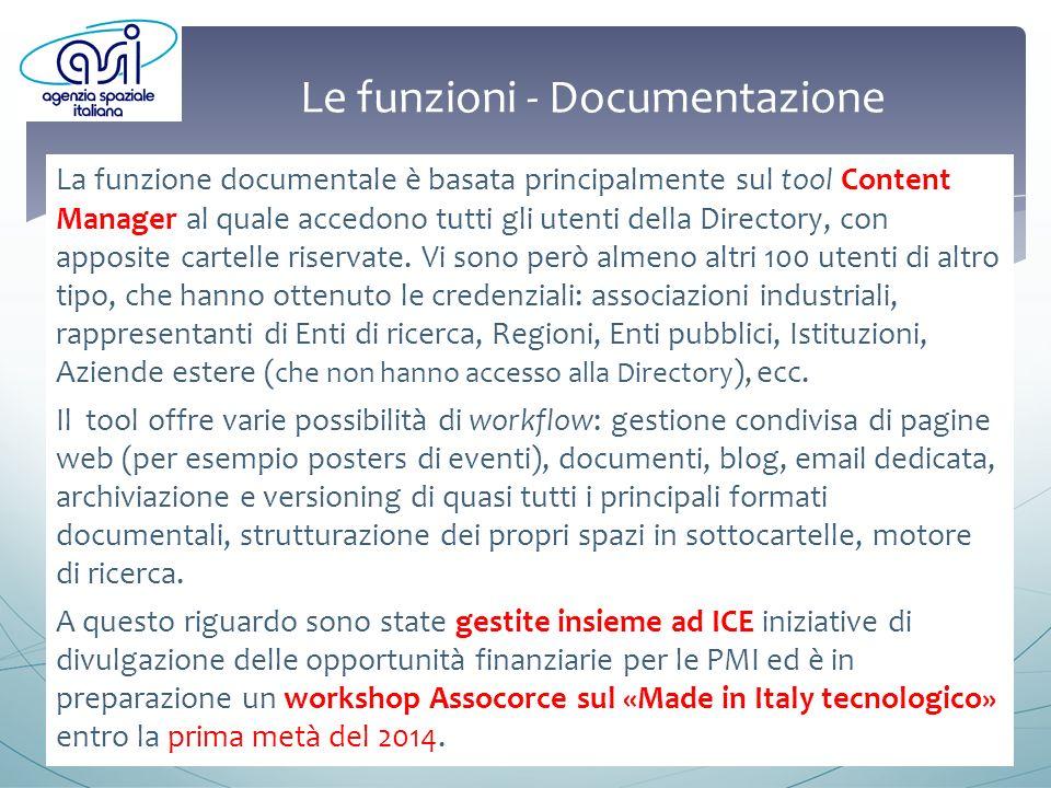 Le funzioni - Documentazione La funzione documentale è basata principalmente sul tool Content Manager al quale accedono tutti gli utenti della Directory, con apposite cartelle riservate.