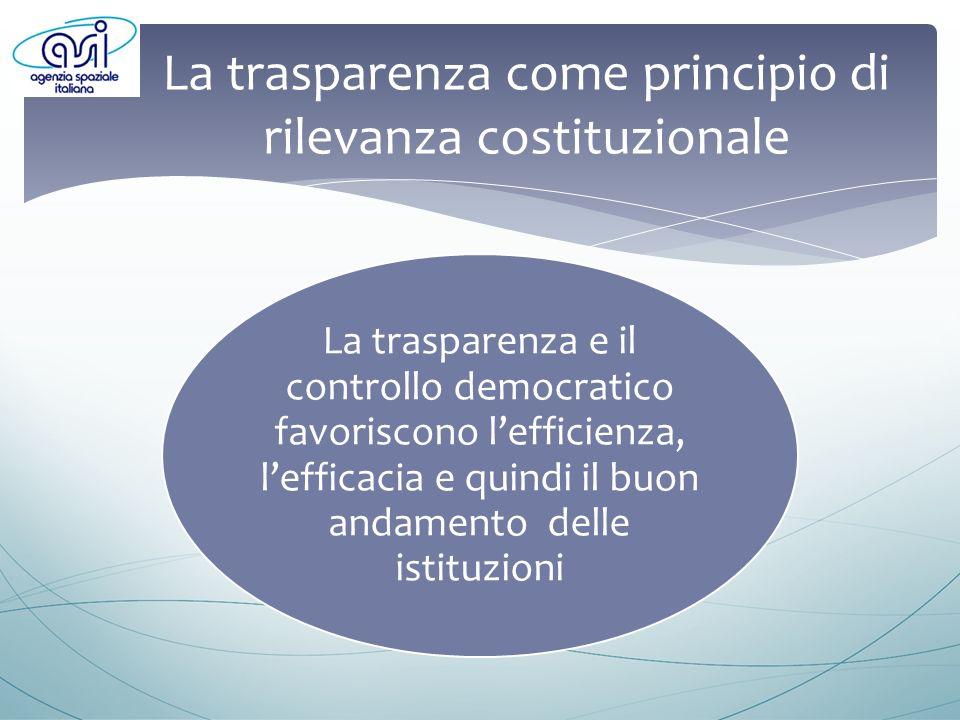 La trasparenza come principio di rilevanza costituzionale La trasparenza e il controllo democratico favoriscono lefficienza, lefficacia e quindi il buon andamento delle istituzioni