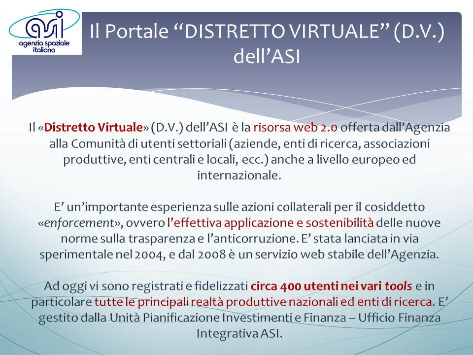 Il Portale DISTRETTO VIRTUALE (D.V.) Vi si accede dal sito ASI www.asi.it – Sezione «LAgenzia», sia in modalità «guest», sia come utente attivo tramite richiesta online di registrazionewww.asi.it