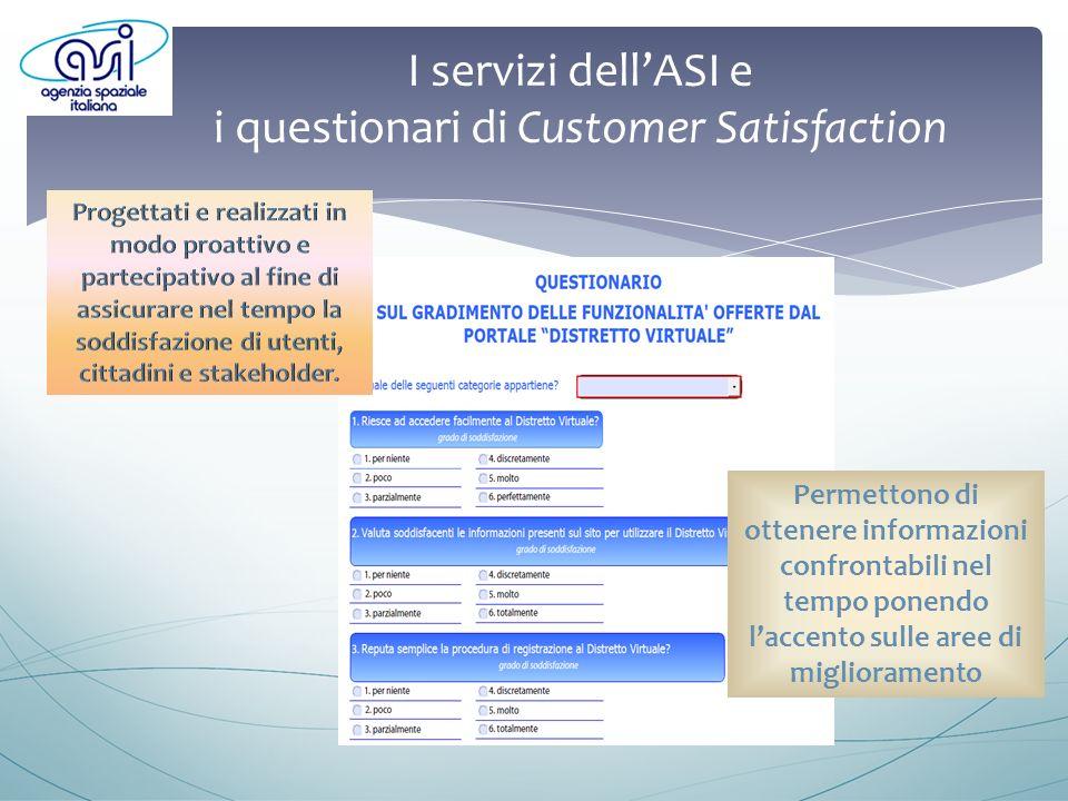 I servizi dellASI e i questionari di Customer Satisfaction Permettono di ottenere informazioni confrontabili nel tempo ponendo laccento sulle aree di miglioramento