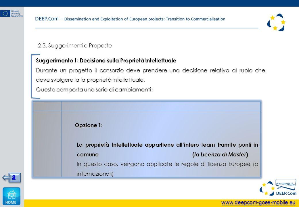 2.3. Suggerimenti e Proposte Suggerimento 1: Decisione sulla Proprietà Intellettuale Durante un progetto il consorzio deve prendere una decisione rela