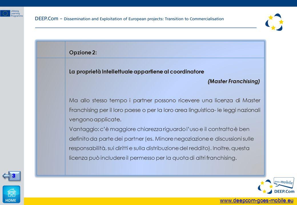 Opzione 2: La proprietà Intellettuale appartiene al coordinatore (Master Franchising) Ma allo stesso tempo i partner possono ricevere una licenza di M