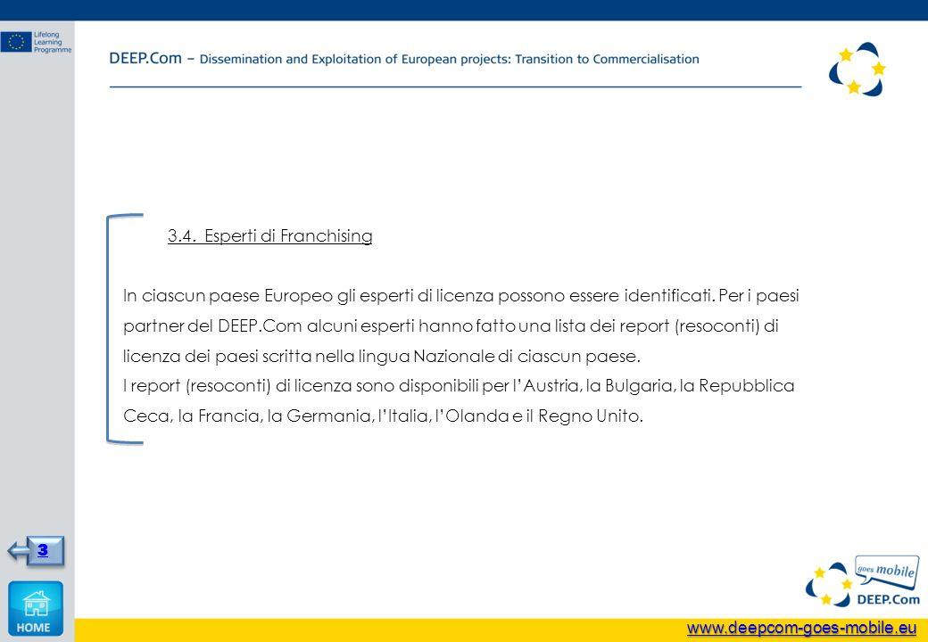 3.4. Esperti di Franchising In ciascun paese Europeo gli esperti di licenza possono essere identificati. Per i paesi partner del DEEP.Com alcuni esper