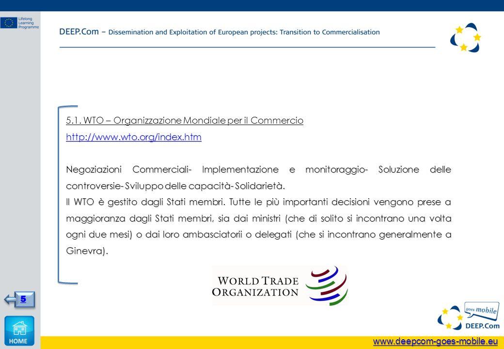 5.1. WTO – Organizzazione Mondiale per il Commercio http://www.wto.org/index.htm Negoziazioni Commerciali- Implementazione e monitoraggio- Soluzione d