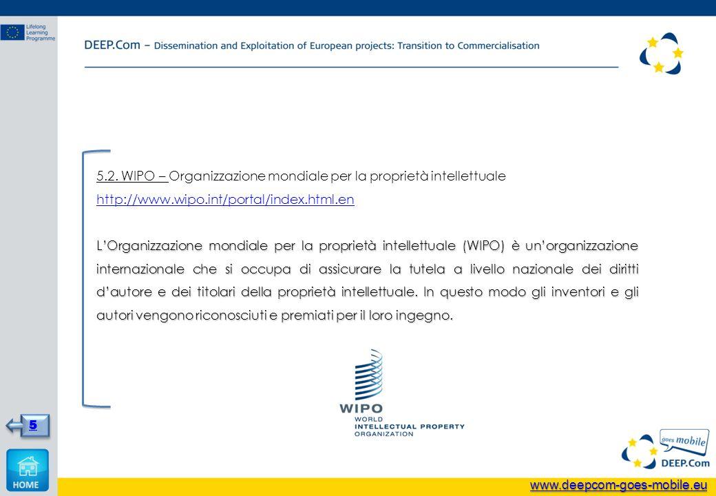 5.2. WIPO – Organizzazione mondiale per la proprietà intellettuale http://www.wipo.int/portal/index.html.en LOrganizzazione mondiale per la proprietà