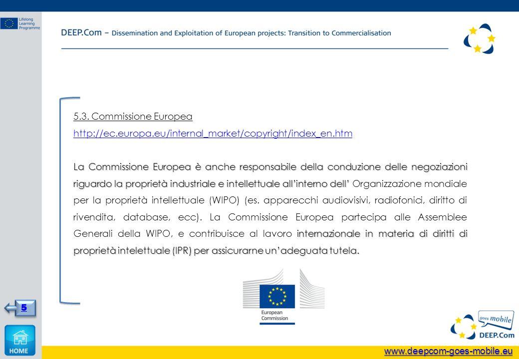 5.3. Commissione Europea http://ec.europa.eu/internal_market/copyright/index_en.htm La Commissione Europea è anche responsabile della conduzione delle