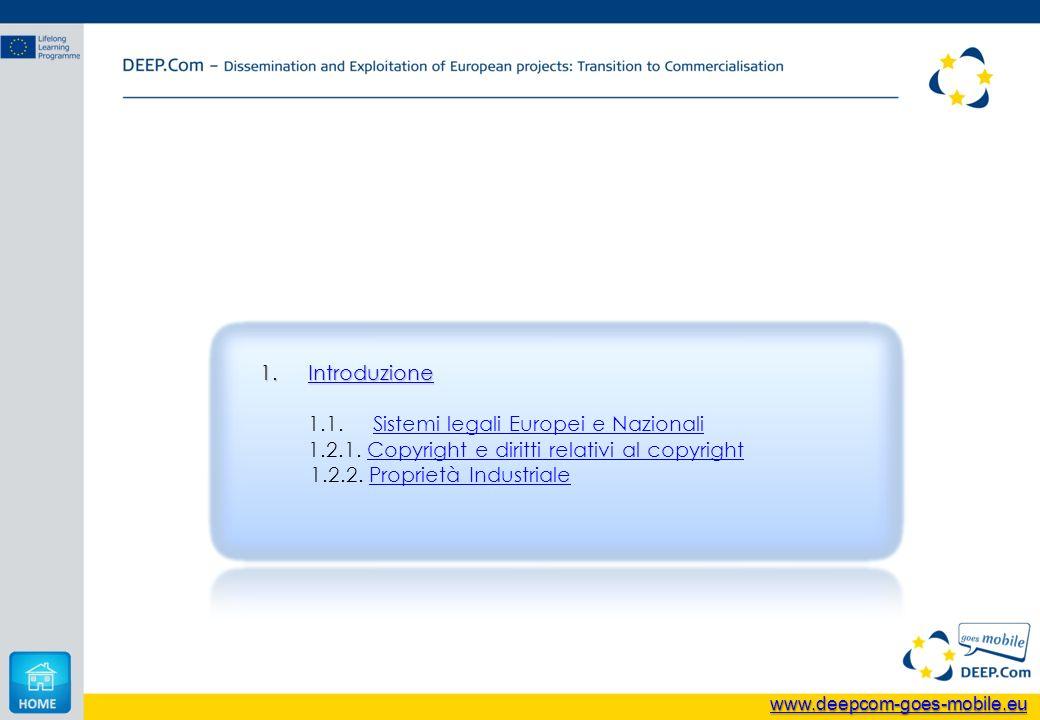 1.Introduzione Introduzione 1.1. Sistemi legali Europei e NazionaliSistemi legali Europei e Nazionali 1.2.1. Copyright e diritti relativi al copyright