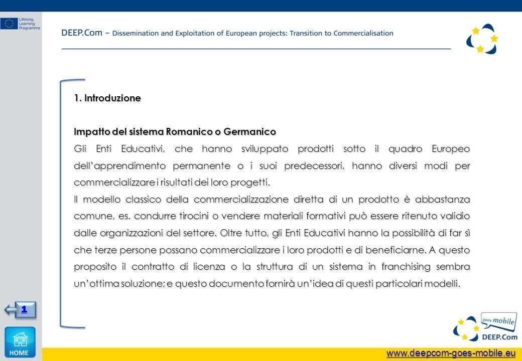 1. Introduzione Impatto del sistema Romanico o Germanico Gli Enti Educativi, che hanno sviluppato prodotti sotto il quadro Europeo dellapprendimento p