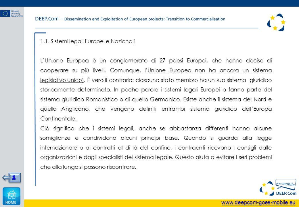 1.1. Sistemi legali Europei e Nazionali LUnione Europea è un conglomerato di 27 paesi Europei, che hanno deciso di cooperare su più livelli. Comunque,