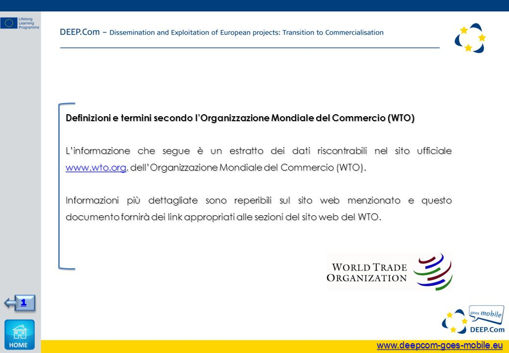 Definizioni e termini secondo lOrganizzazione Mondiale del Commercio (WTO) Linformazione che segue è un estratto dei dati riscontrabili nel sito ufficiale www.wto.org, dellOrganizzazione Mondiale del Commercio (WTO).