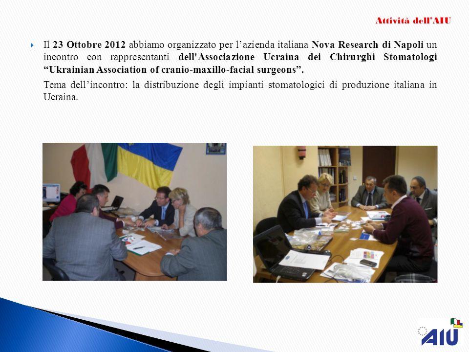 Il 23 Ottobre 2012 abbiamo organizzato per lazienda italiana Nova Research di Napoli un incontro con rappresentanti dell'Associazione Ucraina dei Chir