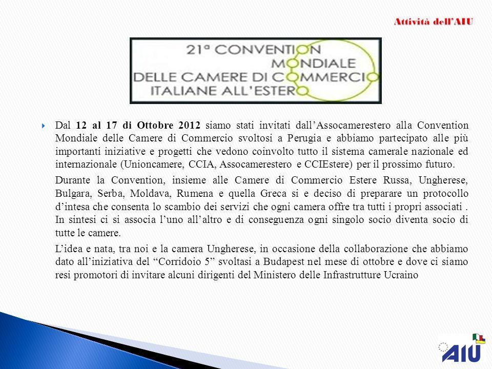 Dal 12 al 17 di Ottobre 2012 siamo stati invitati dallAssocamerestero alla Convention Mondiale delle Camere di Commercio svoltosi a Perugia e abbiamo