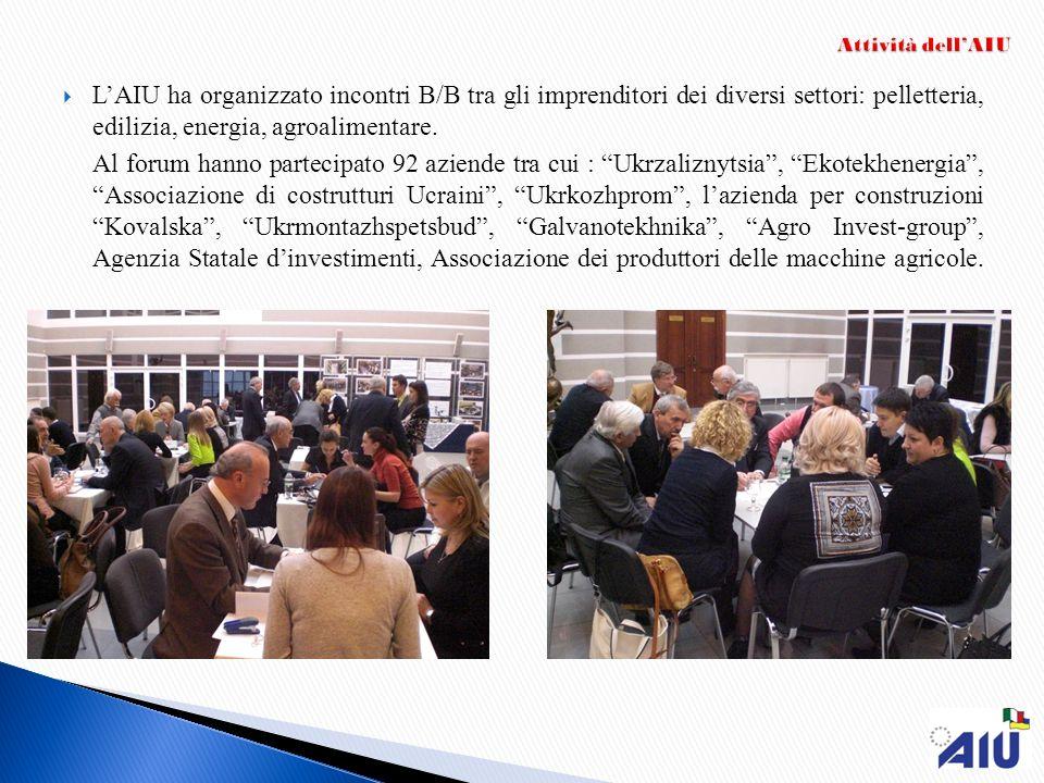 LAIU ha organizzato incontri B/B tra gli imprenditori dei diversi settori: pelletteria, edilizia, energia, agroalimentare. Al forum hanno partecipato