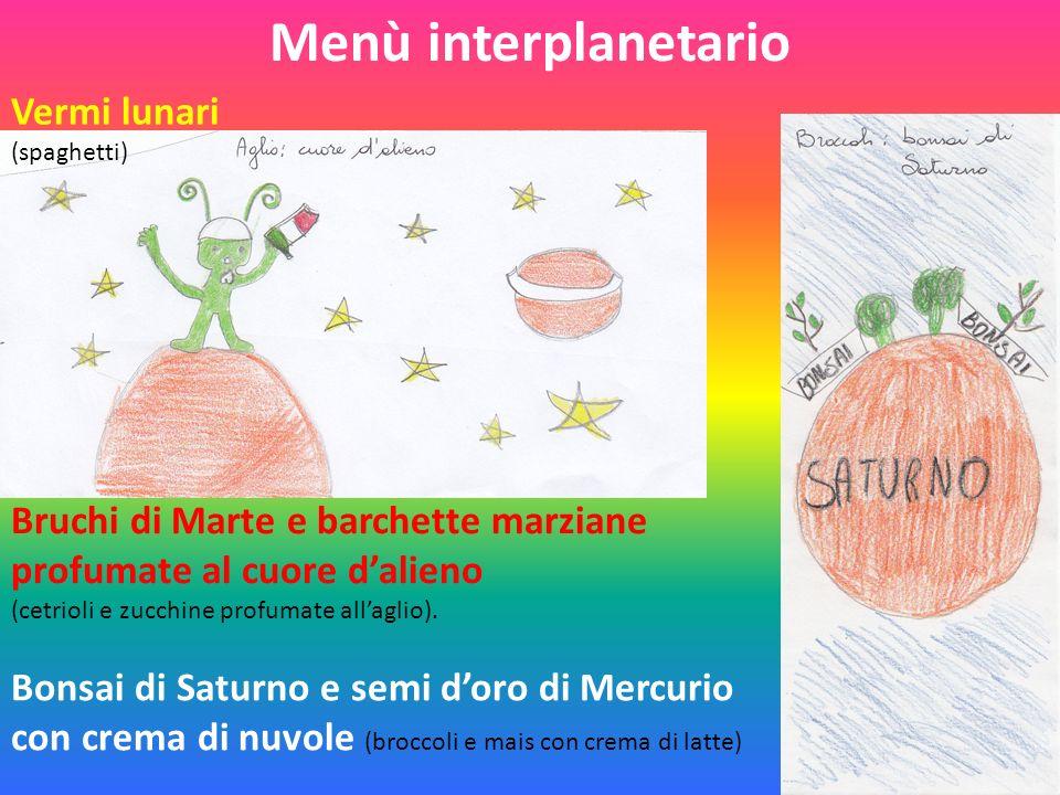 Menù interplanetario Vermi lunari (spaghetti) Bruchi di Marte e barchette marziane profumate al cuore dalieno (cetrioli e zucchine profumate allaglio).