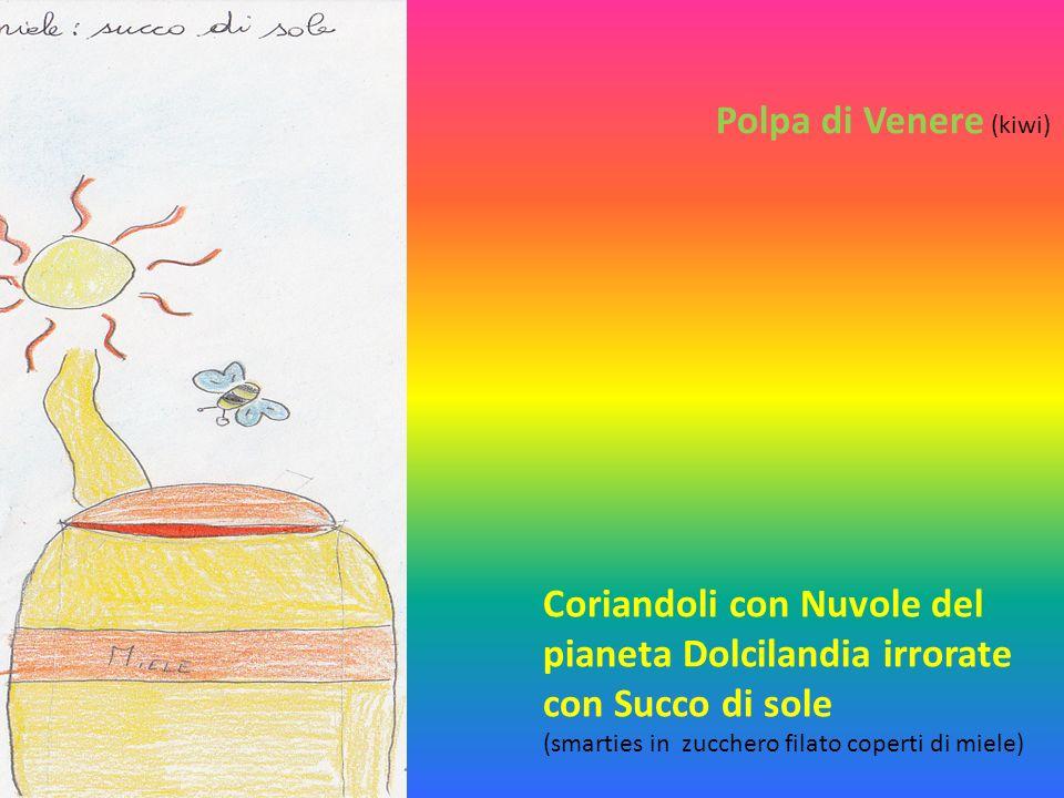 Polpa di Venere (kiwi) Coriandoli con Nuvole del pianeta Dolcilandia irrorate con Succo di sole (smarties in zucchero filato coperti di miele)