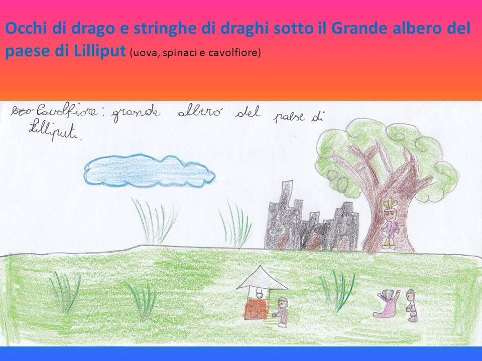 Occhi di drago e stringhe di draghi sotto il Grande albero del paese di Lilliput (uova, spinaci e cavolfiore)