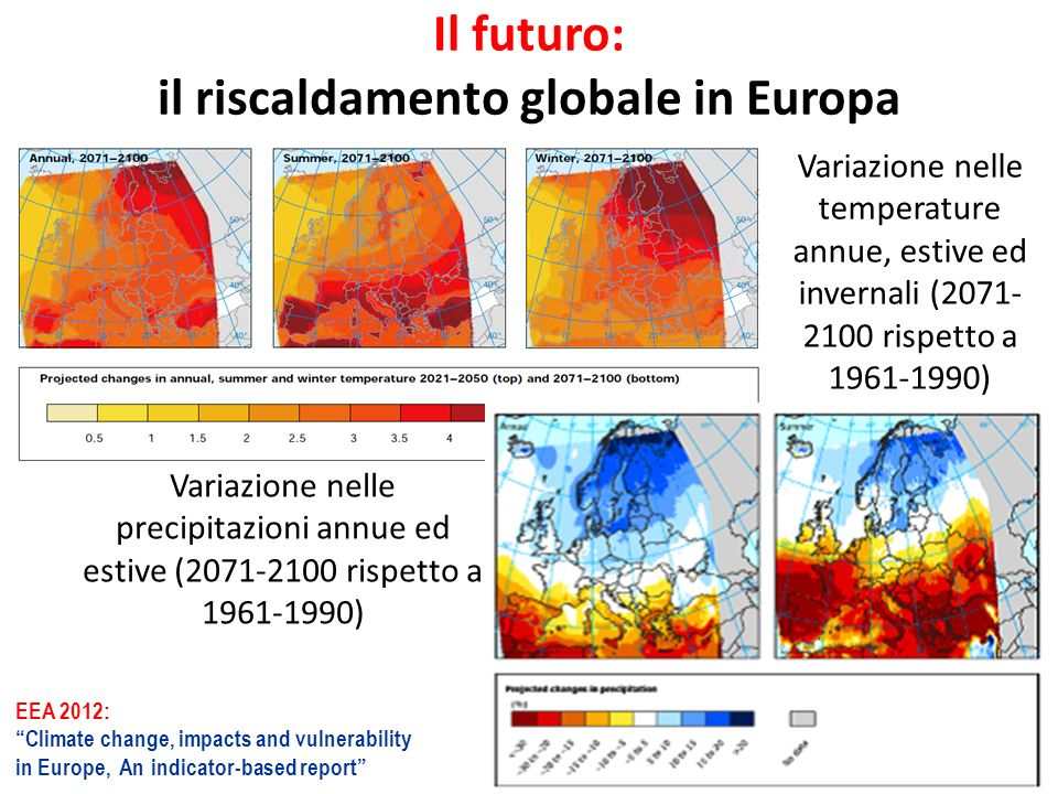Il futuro: il riscaldamento globale in Europa EEA 2012: Climate change, impacts and vulnerability in Europe, An indicator-based report Variazione nell