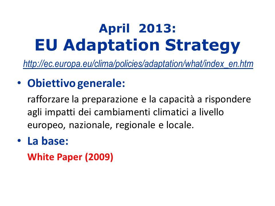 April 2013: EU Adaptation Strategy http://ec.europa.eu/clima/policies/adaptation/what/index_en.htm Obiettivo generale: rafforzare la preparazione e la capacità a rispondere agli impatti dei cambiamenti climatici a livello europeo, nazionale, regionale e locale.