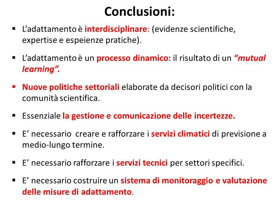 Conclusioni: Ladattamento è interdisciplinare: (evidenze scientifiche, expertise e espeienze pratiche).