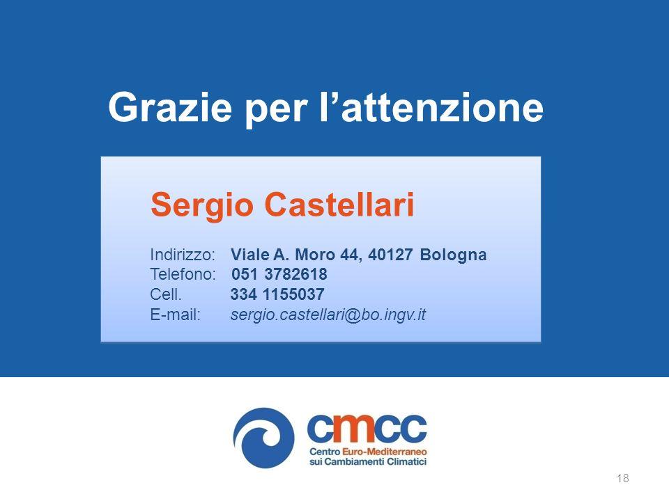 Grazie per lattenzione Sergio Castellari Indirizzo: Viale A.