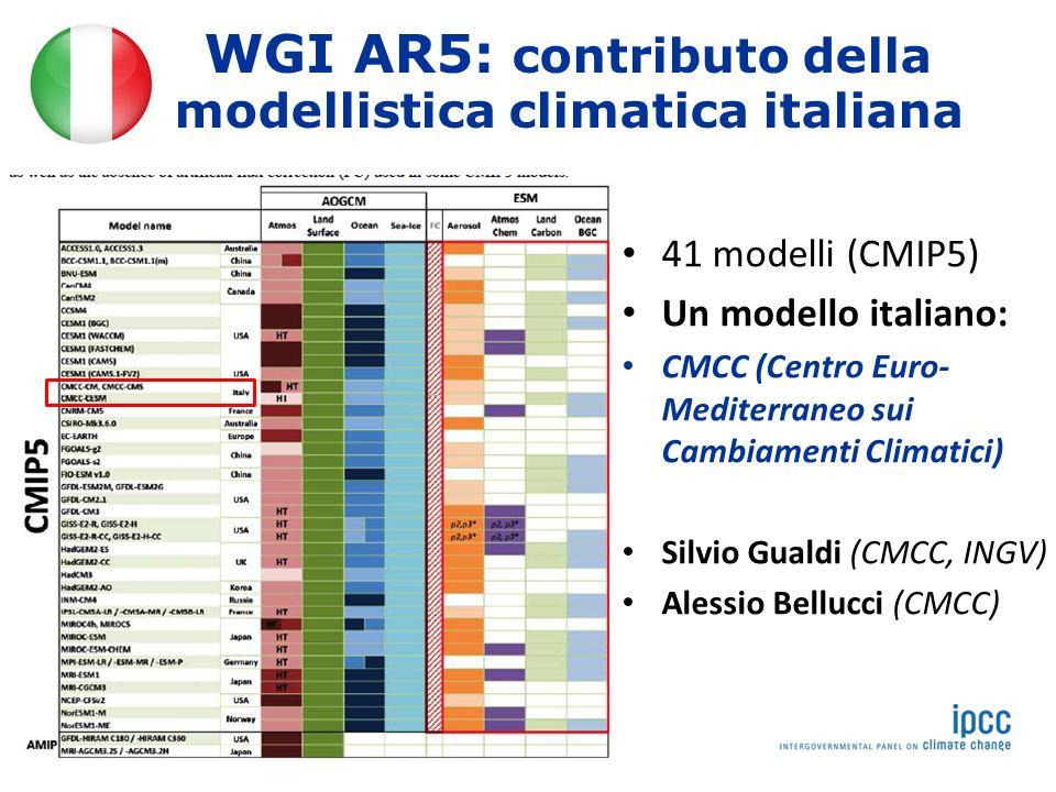 WGI AR5: contributo della modellistica climatica italiana 41 modelli (CMIP5) Un modello italiano: CMCC (Centro Euro- Mediterraneo sui Cambiamenti Climatici) Silvio Gualdi (CMCC, INGV) Alessio Bellucci (CMCC)