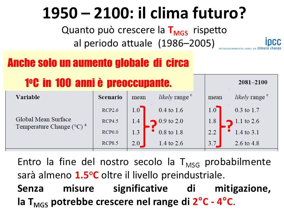 1950 – 2100: il clima futuro.