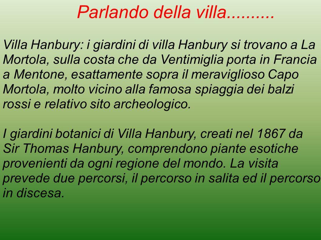 Parlando della villa.......... Villa Hanbury: i giardini di villa Hanbury si trovano a La Mortola, sulla costa che da Ventimiglia porta in Francia a M