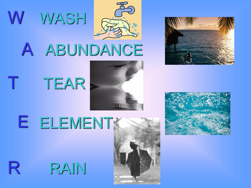 W A T E R WASH ABUNDANCE TEAR ELEMENT RAIN