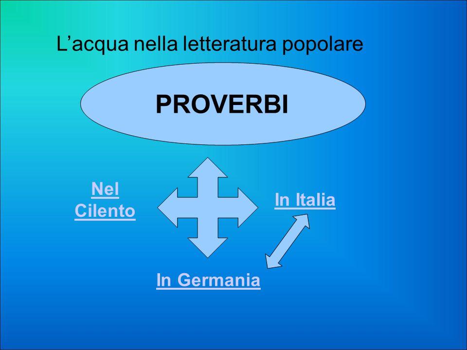 Lacqua nella letteratura popolare In Italia In Germania Nel Cilento PROVERBI