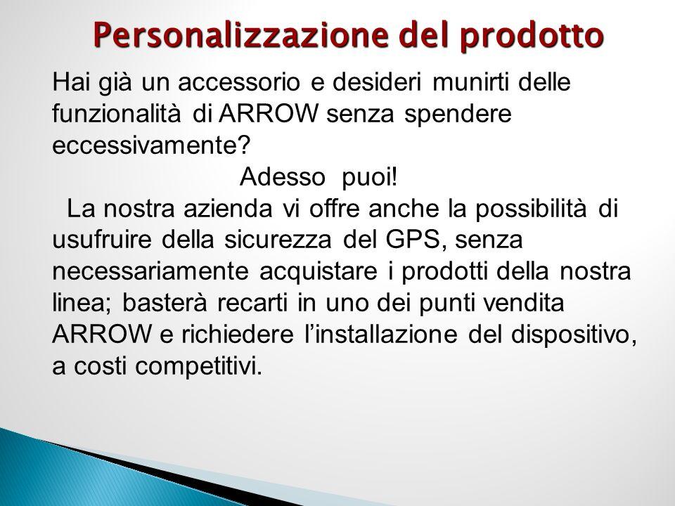 Personalizzazione del prodotto Hai già un accessorio e desideri munirti delle funzionalità di ARROW senza spendere eccessivamente.