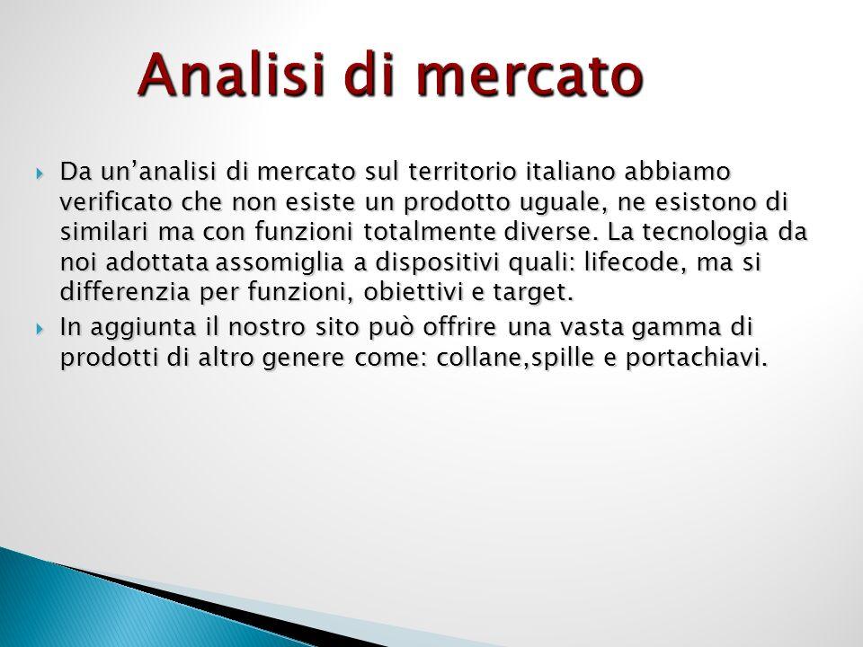Analisi di mercato Da unanalisi di mercato sul territorio italiano abbiamo verificato che non esiste un prodotto uguale, ne esistono di similari ma con funzioni totalmente diverse.