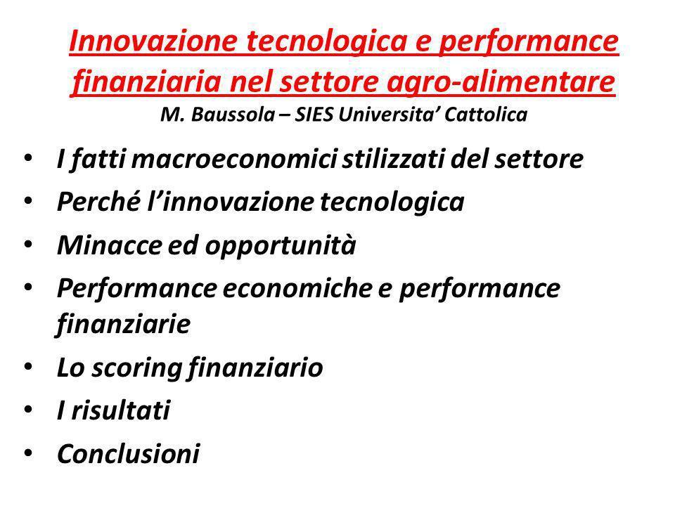 Innovazione tecnologica e performance finanziaria nel settore agro-alimentare M. Baussola – SIES Universita Cattolica I fatti macroeconomici stilizzat