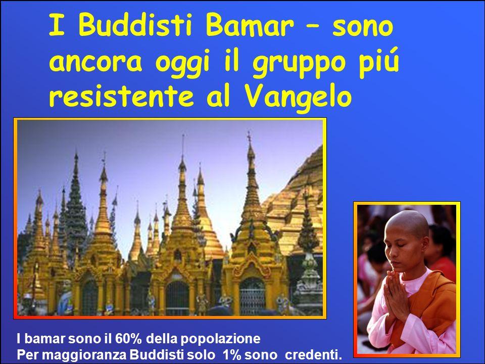I Buddisti Bamar – sono ancora oggi il gruppo piú resistente al Vangelo I bamar sono il 60% della popolazione Per maggioranza Buddisti solo 1% sono credenti.