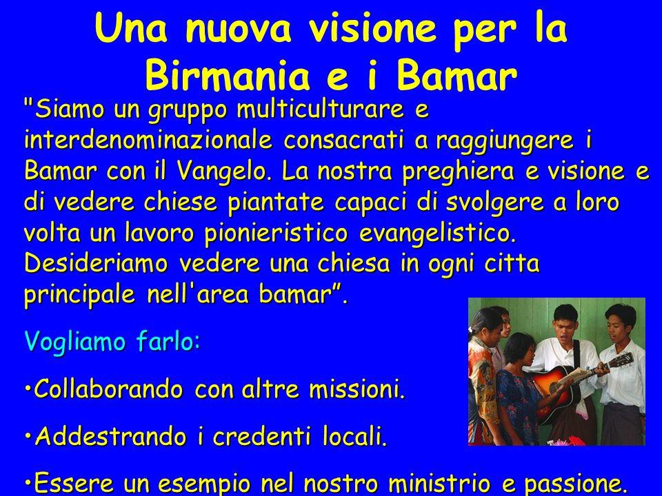 Una nuova visione per la Birmania e i Bamar Siamo un gruppo multiculturare e interdenominazionale consacrati a raggiungere i Bamar con il Vangelo.