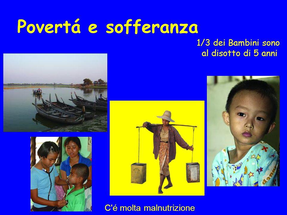 Povertá e sofferanza 1/3 dei Bambini sono al disotto di 5 anni C é molta malnutrizione