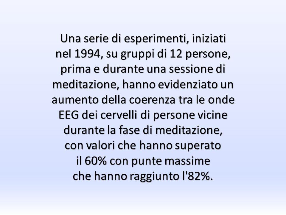 Una serie di esperimenti, iniziati nel 1994, su gruppi di 12 persone, prima e durante una sessione di meditazione, hanno evidenziato un aumento della